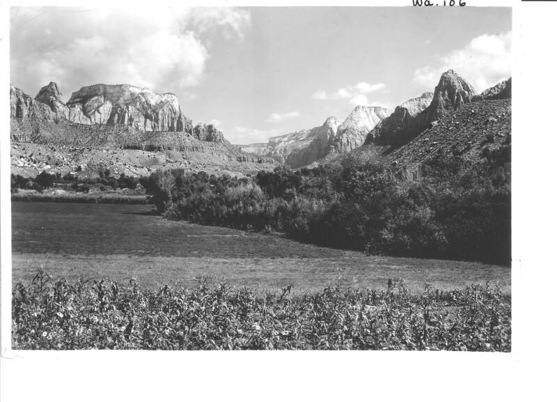 Entrance to Zion Canyon below Springdale, Utah. Zion National Park, 1929.