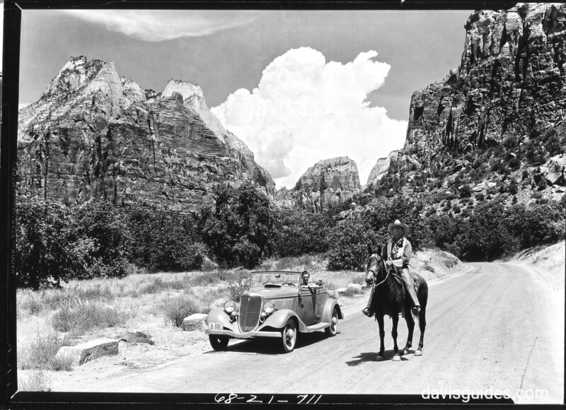 Henry Wallace in the car and Walt Beatty on the horse. Zion National Park, 1935.