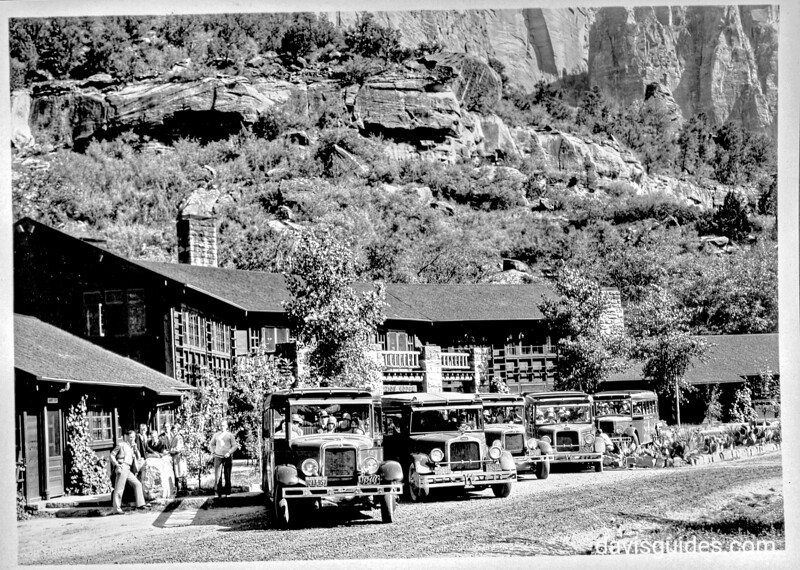Tourists leaving Zion Lodge for the Temple of Sinawava and the trail trip into the Narrows. Zion National Park, 1929.