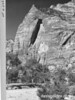 Gothic Arch on east wall of canyon just below Temple of Sinawava. Zion National Park, 1929.
