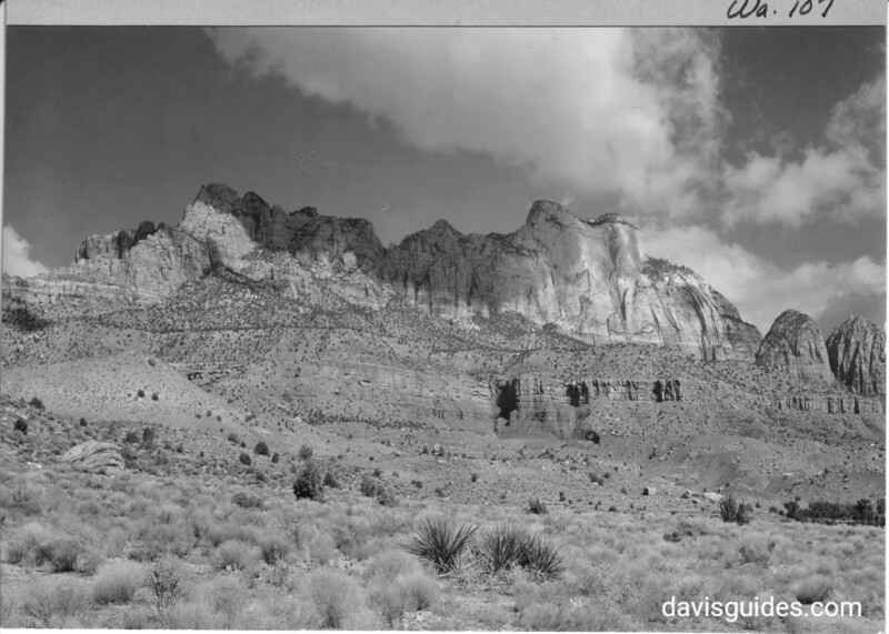 West Temple from entrance to Zion Canyon below Springdale, Utah. Zion National Park, 1929.