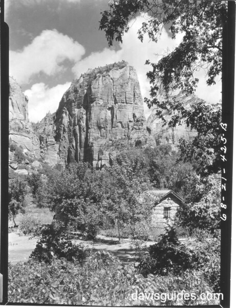 Zion Museum with Angels Landing I the background. Zion National Park, 1929.