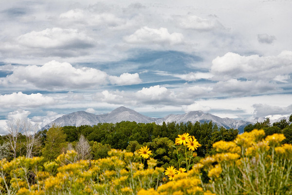 We think this is Mount Antero, northwest of Salida, from the bike trail west of downtown Salida.