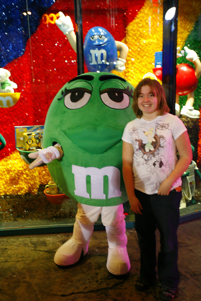Kyra with the Green M&M - wide aperture = poor focus
