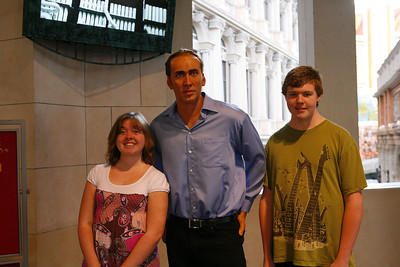 Aaron and Kyra met Nicholas Cage at Madame Tussaud's wax museum in Las Vegas, NV (well, a wax replica of him)...