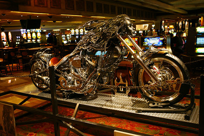 A custom chopper at the Treasure Island Hotel & Casino in Las Vegas