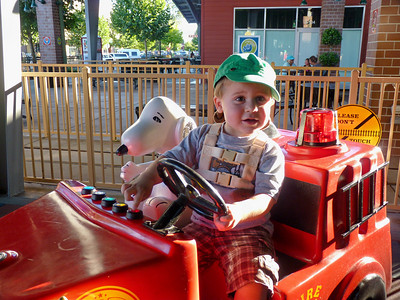 At the Nut Tree Joey in Snoopy's car
