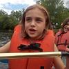 Anya helps paddle (and we still don't crash, Karen)!