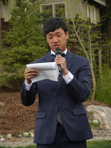 The Wedding - Brother Brian flew in all the way from Hong Kong. Here he is making a speech that had lots of moves and plays.