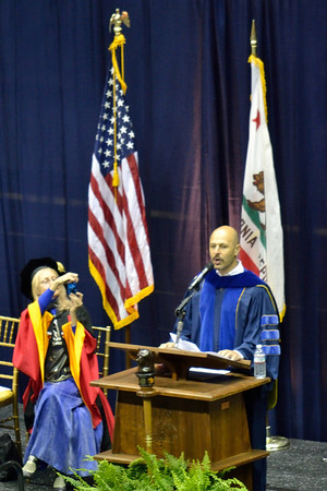There were a few speakers at the graduation, and the most entertaining was this fellow, the  Iranian-American comic Maz Jobrani who has his own TV show, among other things.  Even the hard-core academics wanted a pic.