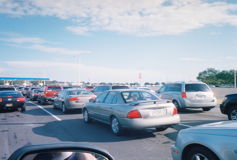 OK- having taken the scenic route to the Park  (way to watch the exit signs Uncle Al) we are now confronted by long parking lot line.. We did make it in..  and the extra $8 for preferred parking would not have been worth it.
