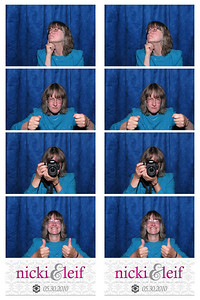 A free photo booth was set up in the lobby. You put one strip into an album with comments for the bride & groom, and you got to keep the other strip. Mine, something like (1)I suppose you're wondering (2) why I drove all this way? (3) Of course to take lots of photos and (4) to wish Nicki & Leif a wonderful marriage.