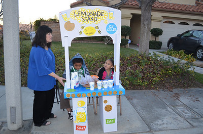 The kids making tons of money with their lemonade stand.