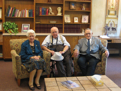 The three surviving Harstine siblings: Marjorie, John, and Laird.  Their brothers Emmet and Leonard died this summer; older brothers Carl and Forest had died years earlier.
