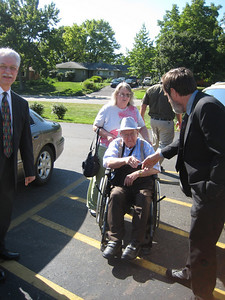 John Harstine, Lenny's brother, arriving from Kansas!   His daughter Ruthie drove the car (and wheelchair).