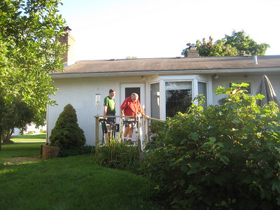 Len using his newly constructed walkway, allowing him access to the patio where he loved to sit. July 31, 2009