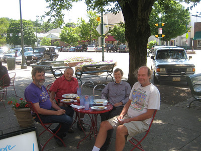 A delicious lunch at an outdoor cafe with Uncle Len and his assistant Robert. August 3, 2009.
