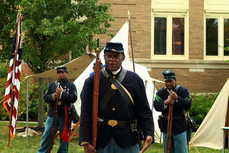 1st sgt, Gerard Grimes with members of his company A 54th Massachusetts Volunteer Regiment Group.