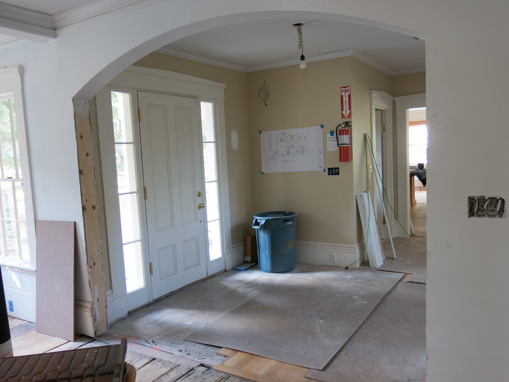 Front door and foyer from dining room.