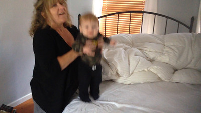 Jumping on Nana's bed...jumping on Nana's bed.