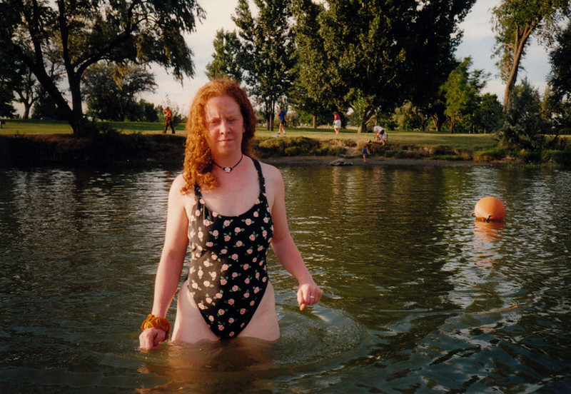 LISA IN THE SNAKE RIVER<br /> Three Islands Crossing Campground, Glenns Ferry, Idaho<br /> <br /> It looks like I'm about to be hit, doesn't it? I don't remember getting hit, but anything's possible. Traumatic amnesia is a wonderful thing.