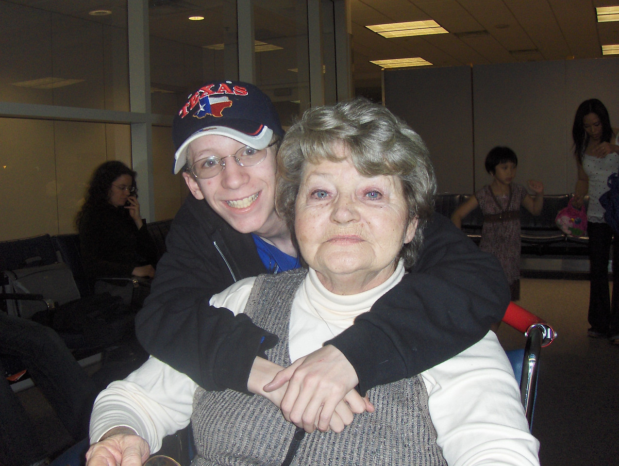 March 2008 - Tony and Gramma Jeanette (my mom) at the DFW Airport Texas - we were waiting for our flight - moving her to Colorado