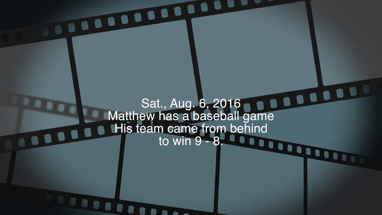 Video:  2 mins.  Matthew's team plays baseball at Little League Park