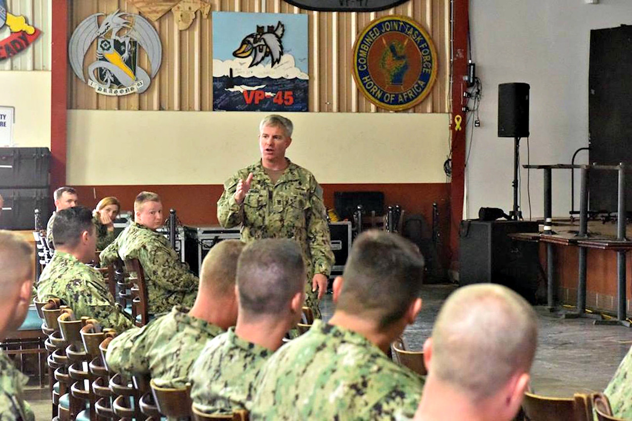 CAMP LEMONNIER, Djibouti - Command Master Chief Matthew Downing delivers a message on the future vision, growth and development of the CPO 365 course instruction, May 11. (U.S. Navy photo by Lt. Desiree V. Woodman/Released)