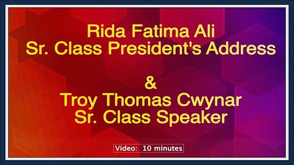 Video: 10 mins ~~ Sr. Class President's  Address  & Sr. Class Speaker's Address, Avon High School, Fri., May 31, 2019, Wolsteain Center, Cleveland, OH