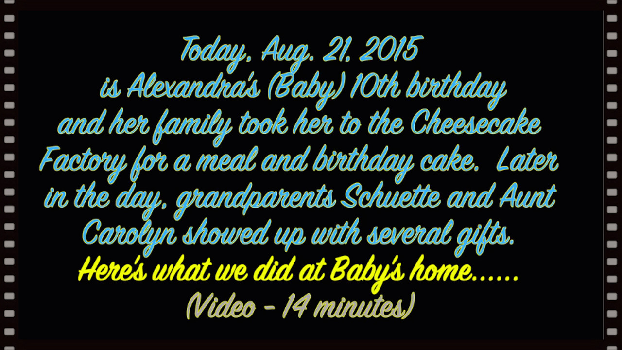 VIDEO:  Baby's 10th Birthday--opening of Grandparents gifts