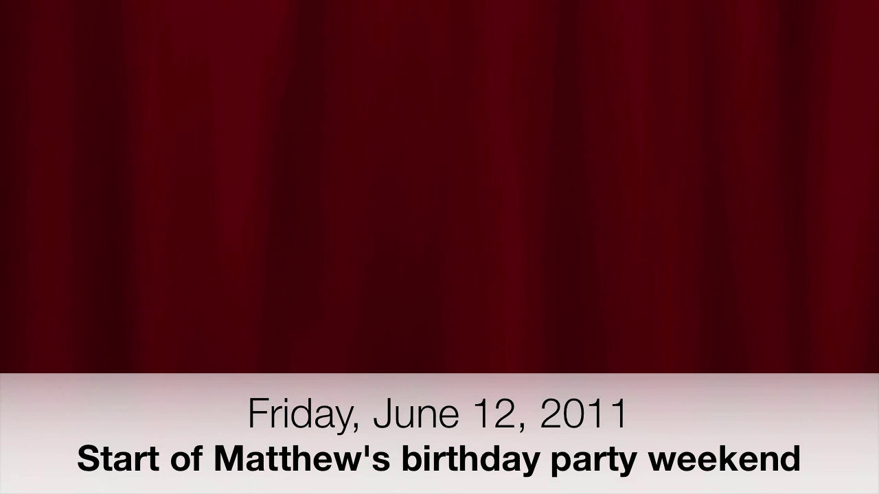 August 12, 2011 - How in the world did I put June in the video??????  Start of Matthew's birthday party