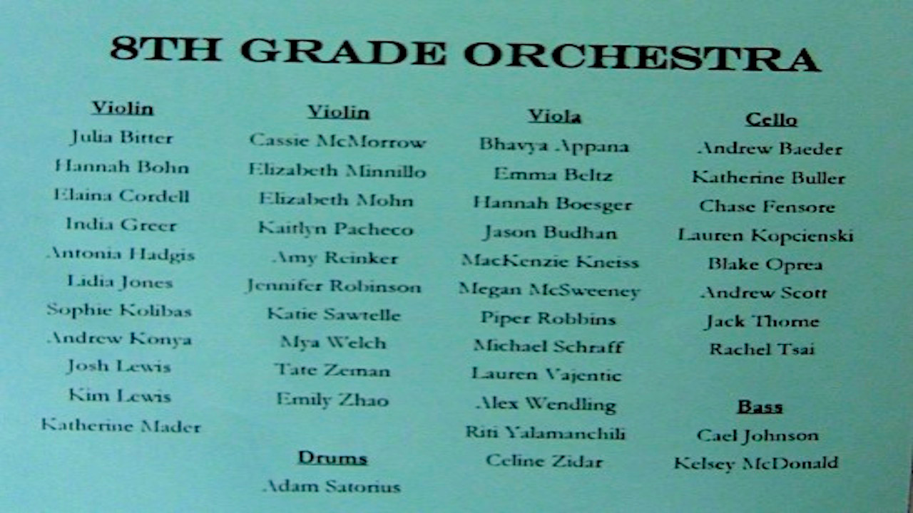 VIDEO -- 8th Grade Winter Concert Musicians