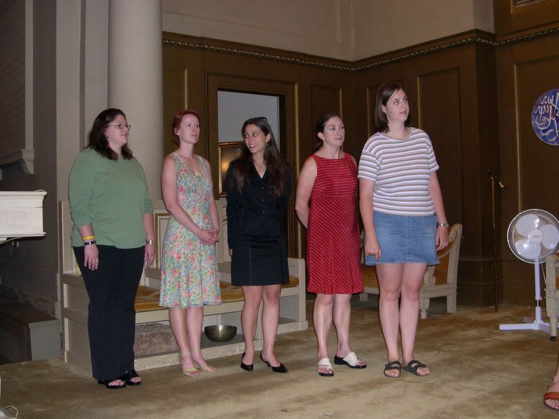 Bridesmaids and matron of honor (from right:  Katie, Jen, Monica, Katherine, Susan.