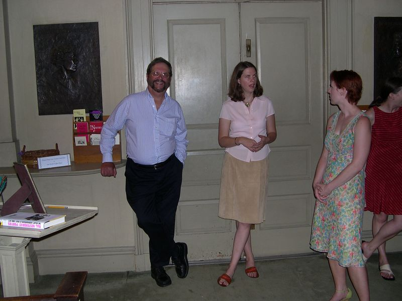 Dick, Liz and Katherine relax at the back of the church before the second rehersal.