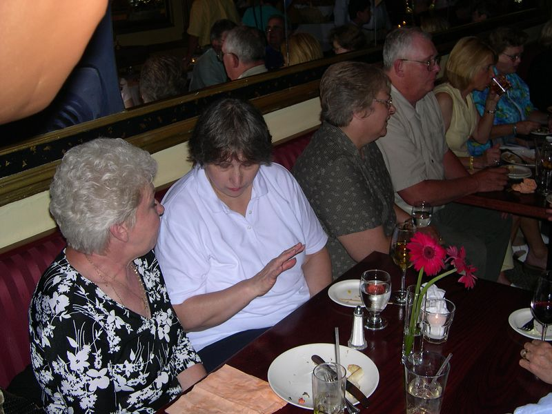 Rehersal dinner.  Susan's cousins Barbara Lester, Donna and Jonny Smith, sister-in-law Doreen, and sister Rosemary.