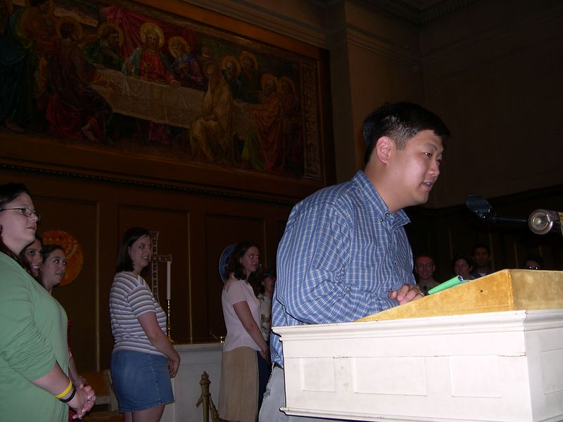 Chris practices his reading for the ceremony.