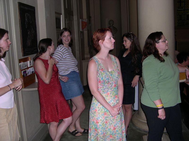 Liz, Jen, Katie, Katherine, Monica and Susan prepare to walk down the aisle.