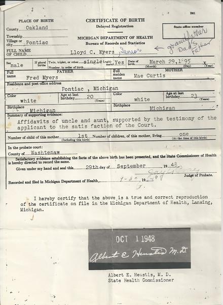 lloyd c birth certificaate 3 29 1895