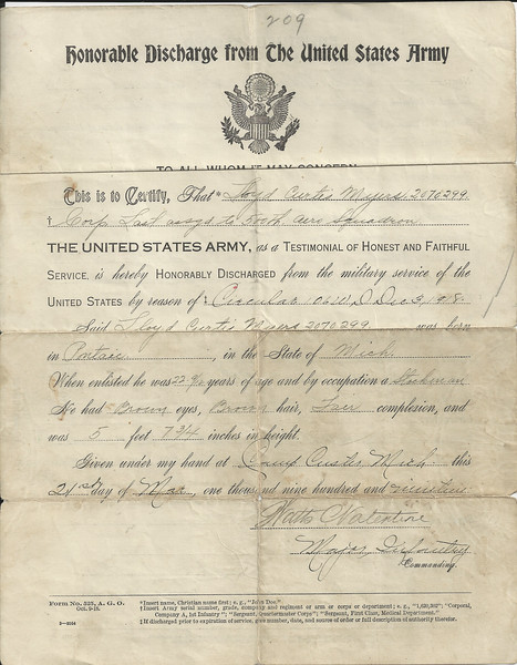 lloyd myers discharge papers