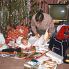 Christmas 1956: Paul, Peter and Lloyd Lantz in front of tree with presents.