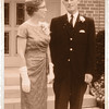 Wedding picture of Jean and Lloyd Lantz 1963 August 17th. Gold effect with fake photo corners.