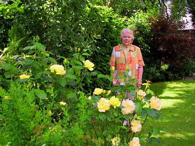 Enjoying her beautiful garden