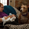 Leyla's standing guard while Gran Jan feeds the baby.