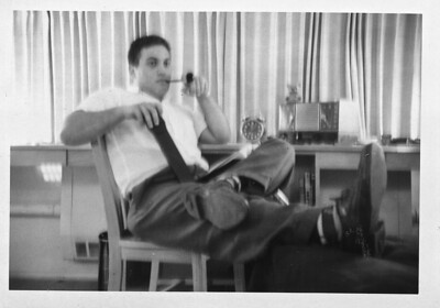 Uncle Sal in Dormatory at Gannon College Erie PA c. 1958