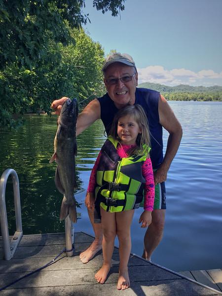 Fishing for Bluegill. Surprise... a big catfish