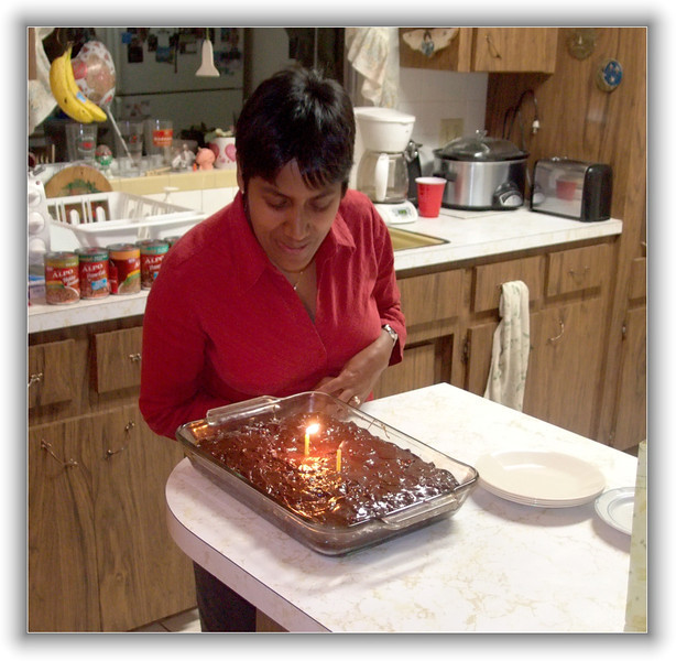 Joe baked a cake for the birthday girl.