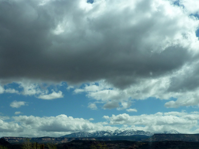 Beautiful landscape around Moab.  We were keeping just ahead of the dark clouds that brought storms to much of Utah.
