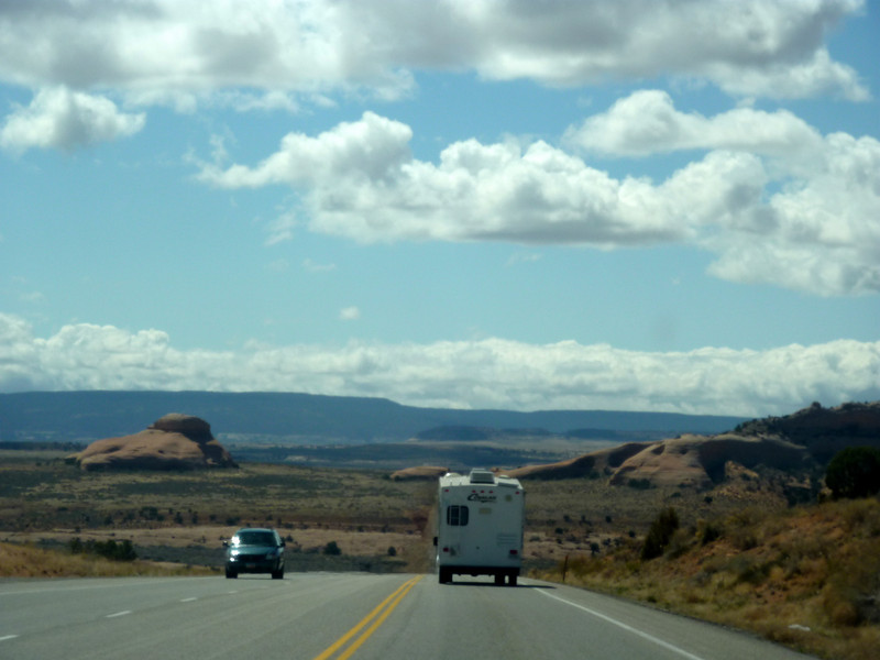 Road between Moab and Monticello - a windshield shot.