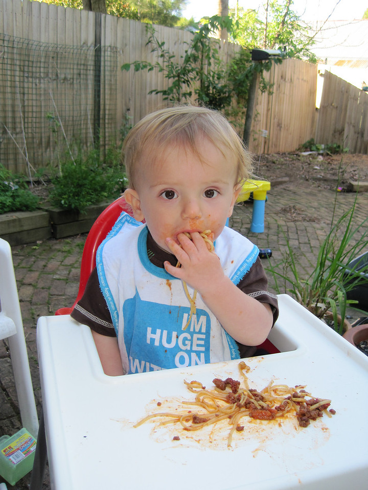 Spag bol, his favourite.