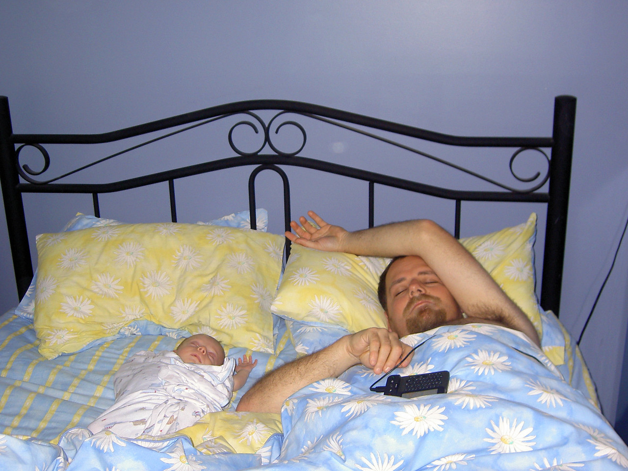 Hanging out with Dad in bed